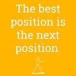 Person using perching stool. Text: The best position is the next position.